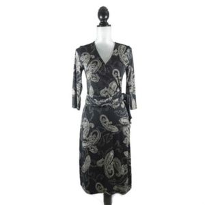 The Limited Wrap Dress Black White Paisley